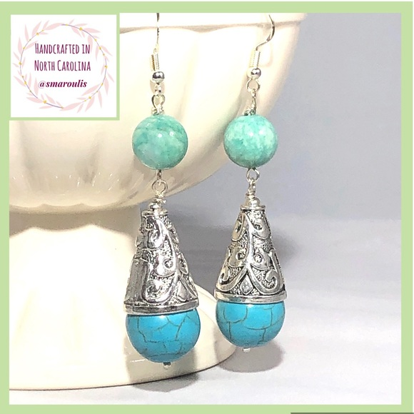 Frontrow.style Jewelry - Sterling Silver Earrings Tahiti Russian Amazonite